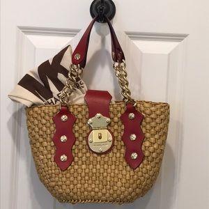 Michael Kors straw shoulder bag
